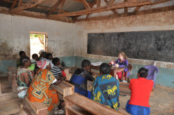 Adrienne Strong conducting field work in Tanzania